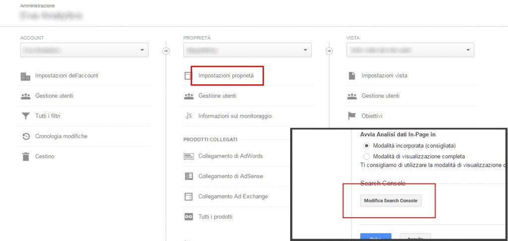integrare search console e analytics