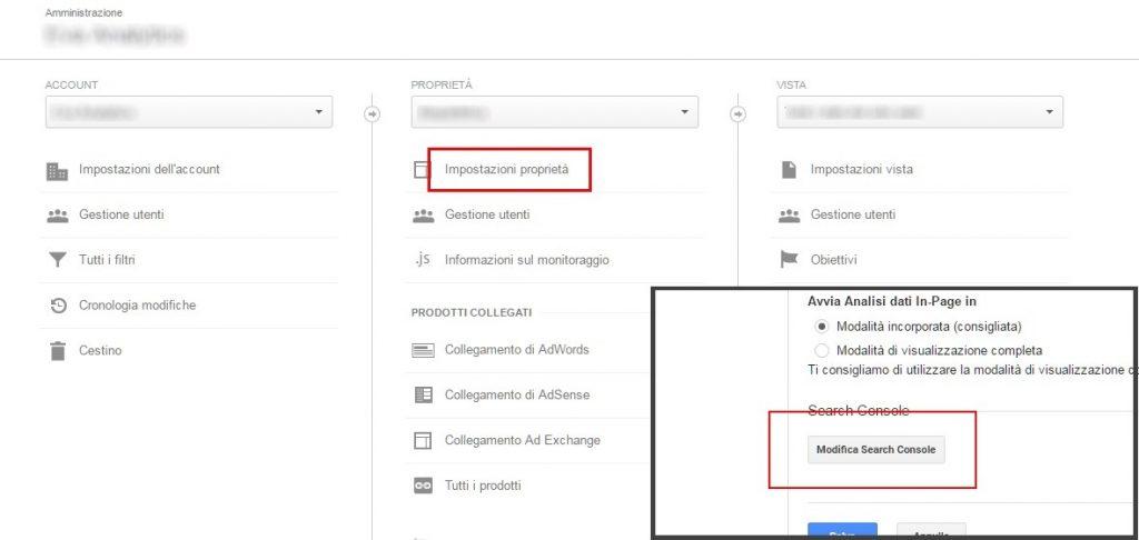 integrare search console e analytics