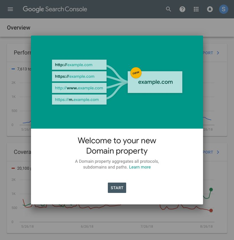 Proprietà di dominio Search Console