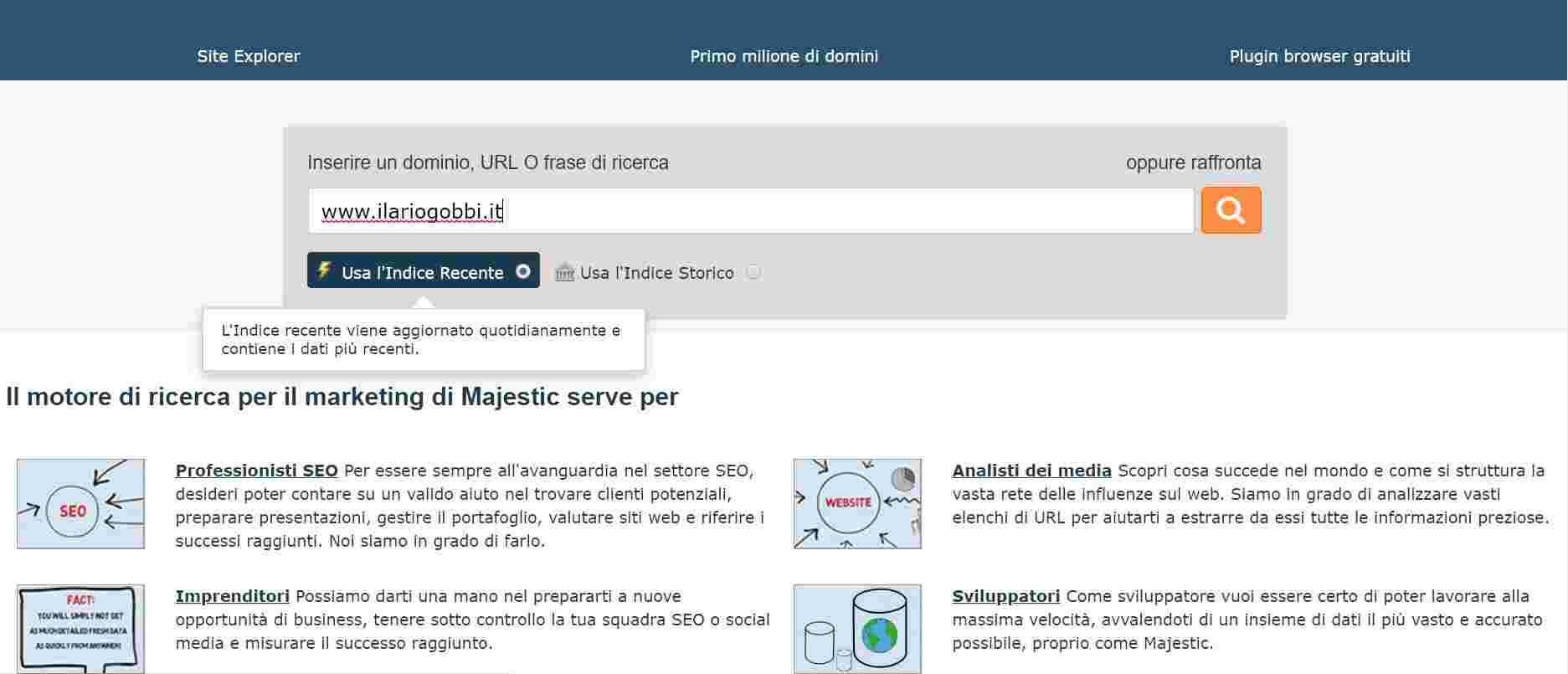Majestic SEO Homepage
